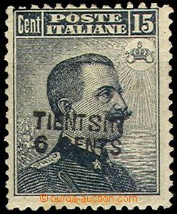 43495 - 1917 ITALSKÁ POŠTA V ČÍNĚ  Mi.11, přetisk Tintsin 6c n