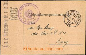 43517 - 1916 lístek FP s přítiskem na zadní straně, DR FP č.18