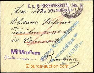 43519 - 1914 dopis přepravený FP, DR Král. Vinohrady/ ??.XII.14,