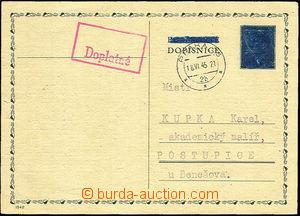 43809 - 1945 protektorátní dopisnice CDV15, známka i text Postkar