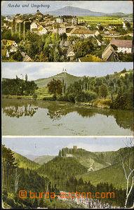 43822 - 1916 ÚŠTĚK (Auscha) - barevná 3-záběrová, prošlá, odřené roh