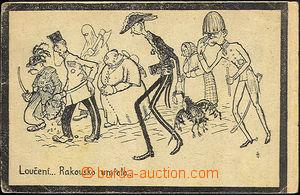 43885 - 1918 drawn caricature, postcard to rozpadu Austria-Hungary L