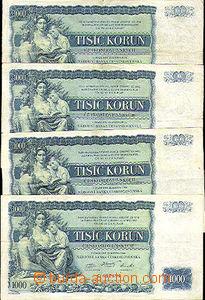 43889 - 1934 ČSR  4ks bankovek 1000Kč (Ba.27), série C, E, F, P, nep