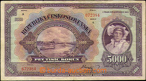 43890 - 1920 ČSR  státovka 5000Kč (Ba.17a), neperforovaná, série A,