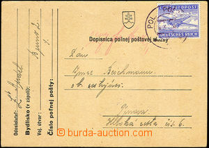 43982 - 1942 Slovak FP card with mounted German airmail stamp Luftfe