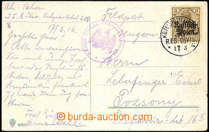 44012 - 1916 POLAND  postcard sent as FP with 3Pf with overprint, Mi