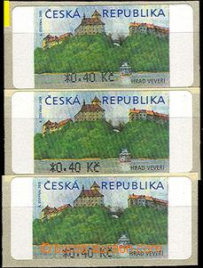 44065 - 2000 Pof.AT1 Veveří (castle) 0,40CZK, 3 pcs of with flaw p