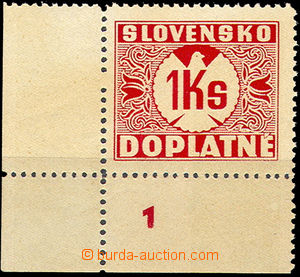 44119 - 1939 Alb.D8y, Postage due stmp 1Ks corner piece with plate m