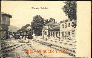 44171 - 1900 Blansko nádraží s lokomotivou, čb., DA, neprošlé