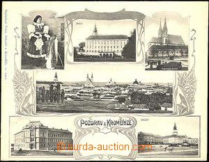 44174 - 1902 Kroměříž folding 6 picture collage,  B/W., long add