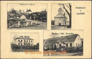 44188 - 1934 Olešná - čb 4-záběrová, náves, kostel, škola, hostinec,