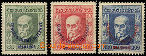 44248 - 1925 Pof.180-182, T. G. Masaryk Congress, P5, P7, P6, 1x exp