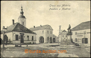 44255 - 1921 Modřice,  B/W view of square with church and sochou, us