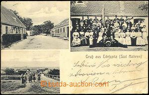 44256 - 1914 SEDLEŠOVICE (Edelspitz) -  B/W 3-views, main street, gr