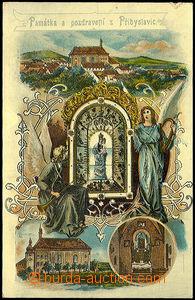 44260 - 1905? Přibyslavice,  barevná koláž, kostel a interiér, foto