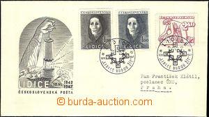 44290 - 1947 ministerial FDC 5. Lidice Memorial (Pof.453-5), ordinal