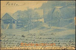 44291 - 1900 PEKLO - modrá pohlednice natištěná na rakouské dop