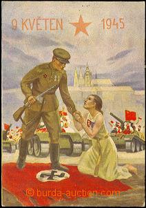44293 - 1945 freedom Prague, printing O.Ušák, girl kneeling on/for