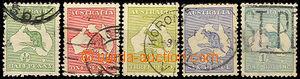 44311 - 1913 Mi.4, 5, 8, 11 a 13 Klokan na mapě, 1x chybí zoubek + z