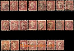 44313 - 1854 Mi.10B, sestava 23ks známek různých písmen dole, zo