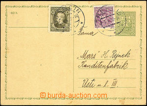 44317 - 1939 Czechosl. PC CDV65 with uprated by. mixed franking Czec