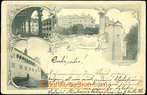 44416 - 1899 Litomyšl, 4-view collage, castle Thurn-Taxis, green sh