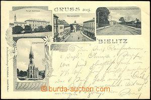 44429 - 1909 Bielitz, jednobarevná kolážová 4okénková pohledni