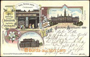 44434 - 1898 Pozdrav z Vídně Jubilejní výstava 1898 + firemní r