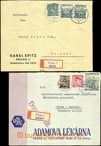 44502 - 1939 2x Reg letter, 1x in the place with mixed franking and