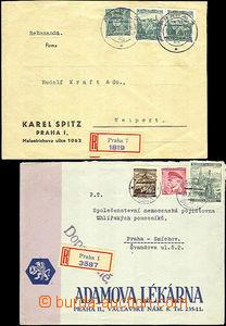 44502 - 1939 2x R dopis, 1x v místě se smíšenou frankaturou a sa