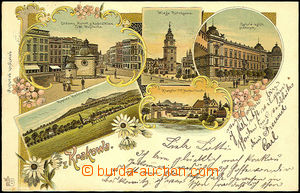 44505 - 1904 Cracow, color collage lithography, 5-views, long addres