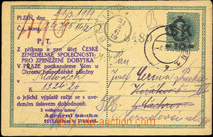 44553 - 1919 CDV1 with private added print Agrarian bank Plzeň on r
