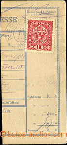 44556 - 1918 First Day Czechoslovakia - parcel dispatch card segment