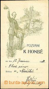 44600 - 1912 MYSLIVOST  pozvání k honbě, jednobarevná lito, vyda