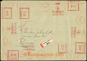 44645 - 1953 těžší R dopis vyplacený 13 otisky OVS Benzinol DR