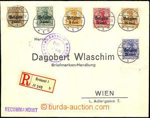 44657 - 1916-18 BELGIEN  R dopis vyfr. 5ks přetiskových zn. Belgie