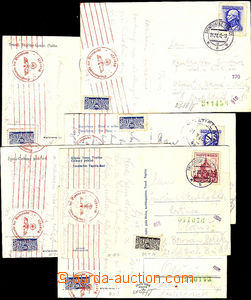 44688 - 1943 control fee stamps  comp. 6 pcs of Ppc addressed to Boh