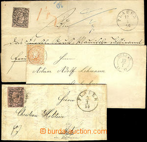 44694 - 1856-70 comp. 3 pcs of letters with various frankings, CDS 2
