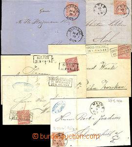 44697 - 1868 sestava 6ks skládaných dopisů vyfr. zn. Mi.16 a 1x M