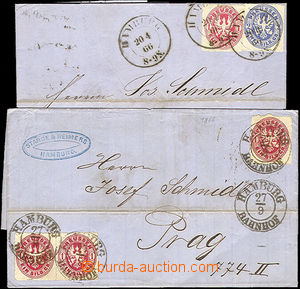 44701 - 1866 comp. 2 pcs of folded letters, 1x multicolor franking w
