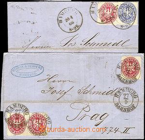 44701 - 1866 sestava 2ks skládaných dopisů, 1x vícebarevná fran