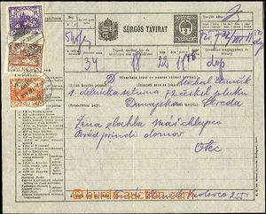 44712 - 1919 forerunner Hungarian express telegram 2f Sürgös Távi