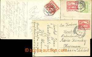 44716 - 1919 3 pcs of Ppc with Hradčany with forerunner Austrian ra