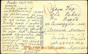 44719 - 1945 postcard Prague sent to member 1. Czechosl. sam. brigad