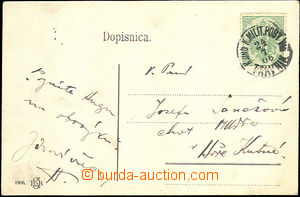44758 - 1906 postcard to Bohemia, franked with. stmp BH Milit.post 5