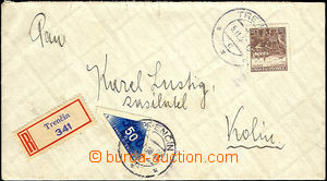 44759 - 1938 Reg letter franked with. stmp 3CZK + delivery Pof.DR1,
