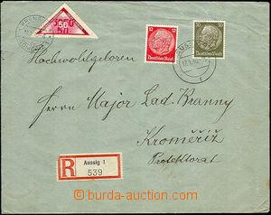 44819 - 1940 Reg letter from Sudetenland to Kroměříž with chosen