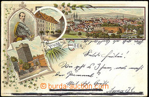 44828 - 1900 Cheb - Gruss aus Eger, lithography, Valdštejn, house s