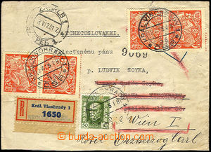 44840 - 1925 Reg letter sent from Zagreb to Prague here recipient no