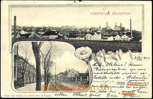 44841 - 1902 Kladno - general view, alley; long address, Us, very li